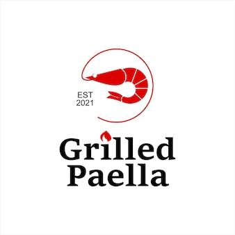 Tasty seafood dish paella food template