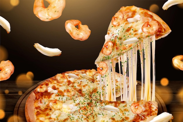 Рекламы вкусной пиццы с морепродуктами и тягучим сыром на 3d-иллюстрации, креветками и кольцами кальмаров