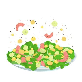 Вкусный салат из морепродуктов. готовим дома концепция