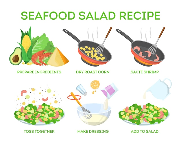 Tasty seafood salad recipe. cooking at home