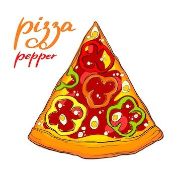 Вкусный кусок пиццы с перцем.