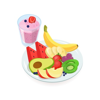 Tasty slices of fresh exotic fruits lying on plate and glass of berry smoothie isolated