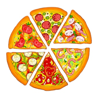 Tasty slices of pizza.