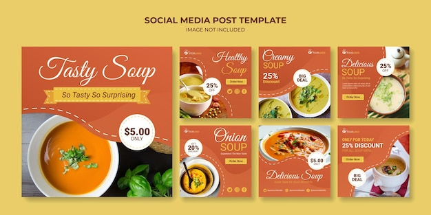 맛있는 수프 소셜 미디어 게시물 템플릿