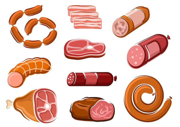 Tasty spicy salami, pepperoni, bologna and smoked pork sausages, bacon slices, ham, roast beef and raw beef steak