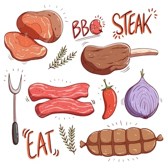 다채로운 손으로 그리는 스타일로 맛있는 스테이크와 생고기 제품