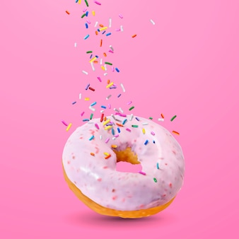 Tasty strawberry donut illustration
