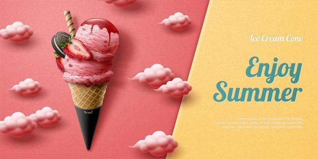 Вкусная реклама рожков клубничного мороженого со свежими фруктами и шоколадным печеньем