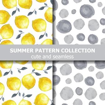 水彩レモンとドットのおいしい夏のパターンコレクション。夏のバナー。ベクター