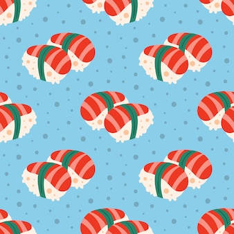 Tasty sushi. japanese delicious dish. flat cartoon, hand drawn,   seamless pattern