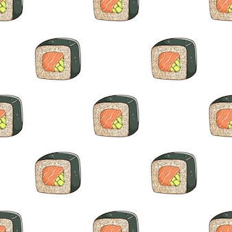 Tasty sushi in pattern with colorful sketch style