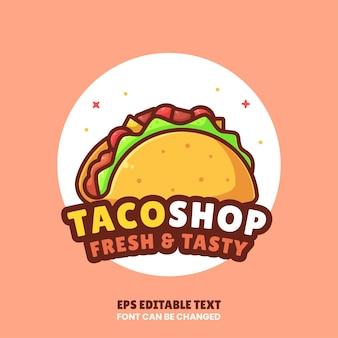 맛 있는 타코 로고 벡터 아이콘 그림 레스토랑에 대 한 평면 스타일에 프리미엄 패스트 푸드 로고