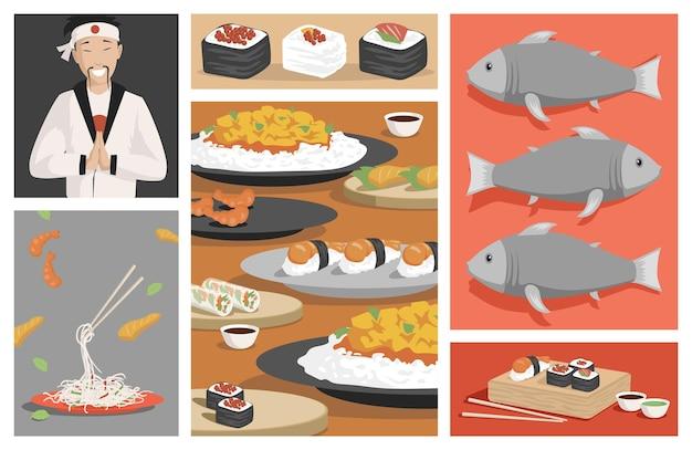 맛있는 전통 일본 음식 벡터 평면 그림 신선한 스시와