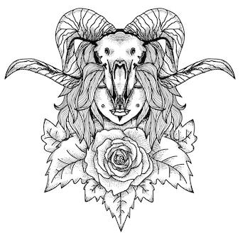 タトゥーとtシャツは、動物の頭蓋骨とバラのプレミアムを持つ女性をデザインします
