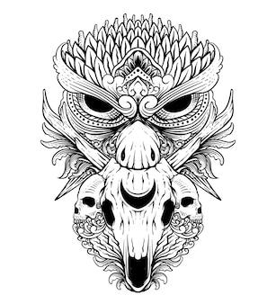 頭蓋骨の鹿のラインアートの黒と白の彫刻スタイルのタトゥーデザインフクロウ