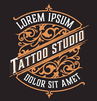 Tatto 로고. 꽃 장식으로 빈티지 스타일
