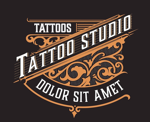 Tatto logo with floral ornaments