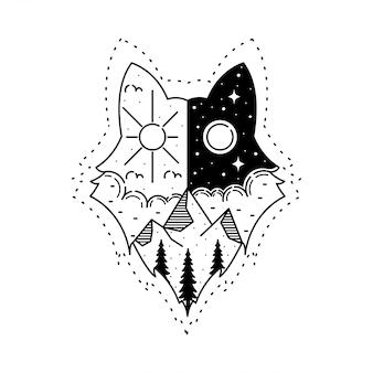 タトゥー屋外モノラインオオカミデザイン