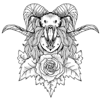 Tatto and tshirt design women with animal skul and rose premium