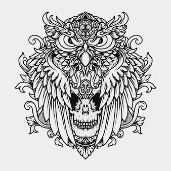 문신과 티셔츠 흑백 손으로 그린 그림 조각 올빼미와 두개골