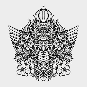 문신과 티셔츠 디자인 발리 바롱 조각 장식