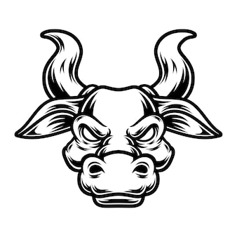 문신과 티셔츠 디자인 흑백 황소 그림