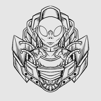 Тату и дизайн футболки черно-белый рисованный инопланетянин