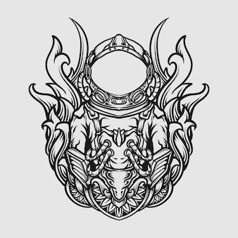 タトゥーとtシャツのデザイン黒と白の手描きの宇宙飛行士の彫刻飾り