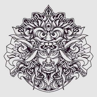 문신 및 티셔츠 디자인 흑백 손으로 그린 발리 바롱 x 오니 마스크 조각 장식