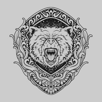 Татуировка и дизайн футболки черно-белый рисованный медведь гравюра орнамент