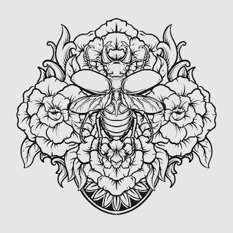 Тату и дизайн футболки черно-белый рисованный жук и цветок гравюра орнамент