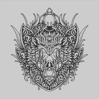 Татуировка и дизайн футболки черно-белый рисованный кабан гравюра орнамент
