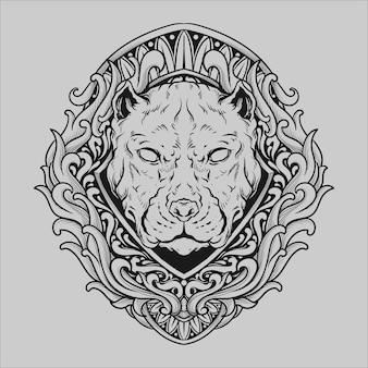 문신과 티셔츠 디자인 흑백 손으로 그린 불독 조각 장식
