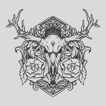 入れ墨とtシャツのデザイン黒と白の手描きの鹿とバラの彫刻飾り