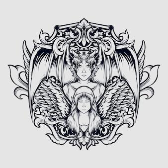 Тату и дизайн футболки черно-белый рисованный дьявол и ангел гравюра орнамент