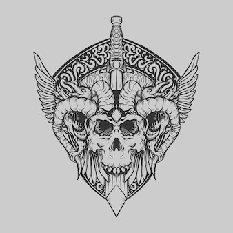 Татуировка и дизайн футболки черно-белый рисованный череп дьявола с мечом ворона гравировка орнамента