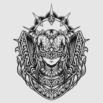 Татуировка и дизайн футболки черно-белый рисованной дьявол женщины гравировка орнамента