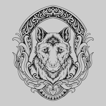Татуировка и дизайн футболки черно-белая рисованная собака гравюра орнамент