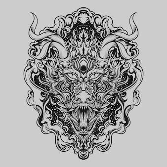 문신과 티셔츠 디자인 흑백 손으로 그린 용 조각 장식