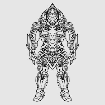 タトゥーとtシャツのデザイン黒と白の手描きガトートカチャ戦士