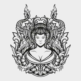 タトゥーとtシャツのデザイン黒と白の手描き芸者とドラゴンの彫刻飾り