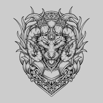 Татуировка и дизайн футболки черно-белая рисованная голова козла гравировка орнамент