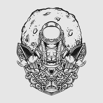 Татуировка и дизайн футболки черно-белая рисованная иллюстрация астронавт и луна гравировка орнамента