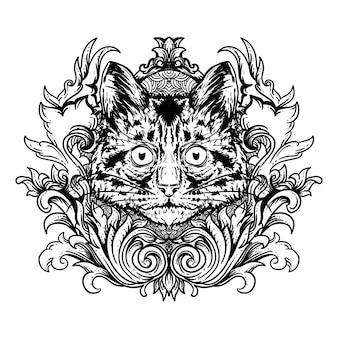 タトゥーとtシャツデザインの黒と白の手描きイラスト猫頭と彫刻飾り