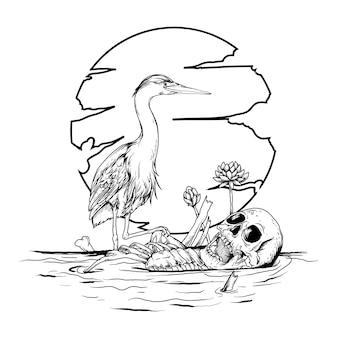 Татуировка и дизайн футболки черно-белая рисованная иллюстрация журавль и скелет человека