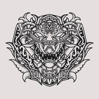 Татуировка и дизайн футболки черно-белая рисованная иллюстрация крокодил голова гравировка орнамент
