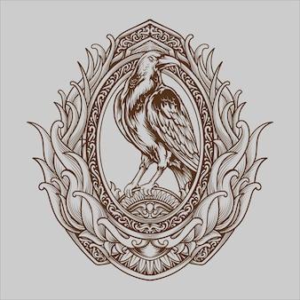 Татуировка и дизайн футболки черно-белая рисованная иллюстрация ворона гравюра орнамент