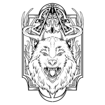 Тату и дизайн футболки черно-белая рисованная иллюстрация олень волк с орнаментом