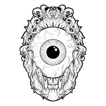 Татуировка и дизайн футболки черно-белая рисованная иллюстрация глазной шар гравюра орнамент
