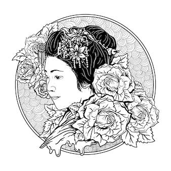 タトゥーとtシャツデザインの黒と白の手描きイラスト芸者とバラ